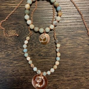 Rose Gold Turquoise Beaded Necklace Set
